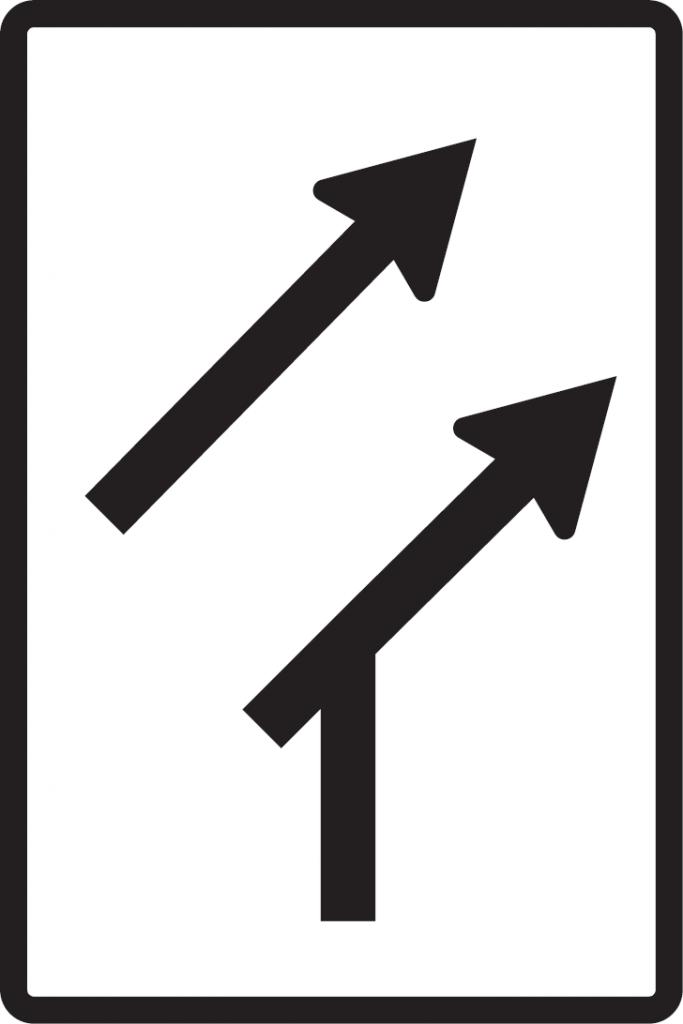Usporiadanie jazdných pruhov (pripojenie bez pripájacieho pruhu)