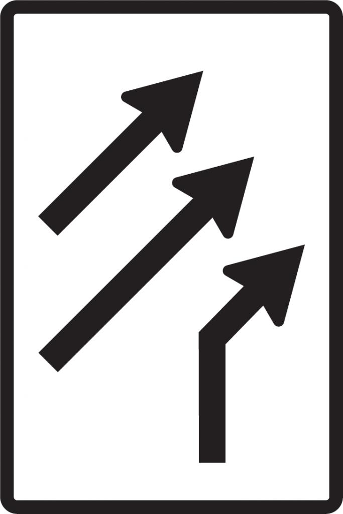 Usporiadanie jazdných pruhov (pripojenie pravého pruhu bez pripájacieho pruhu)