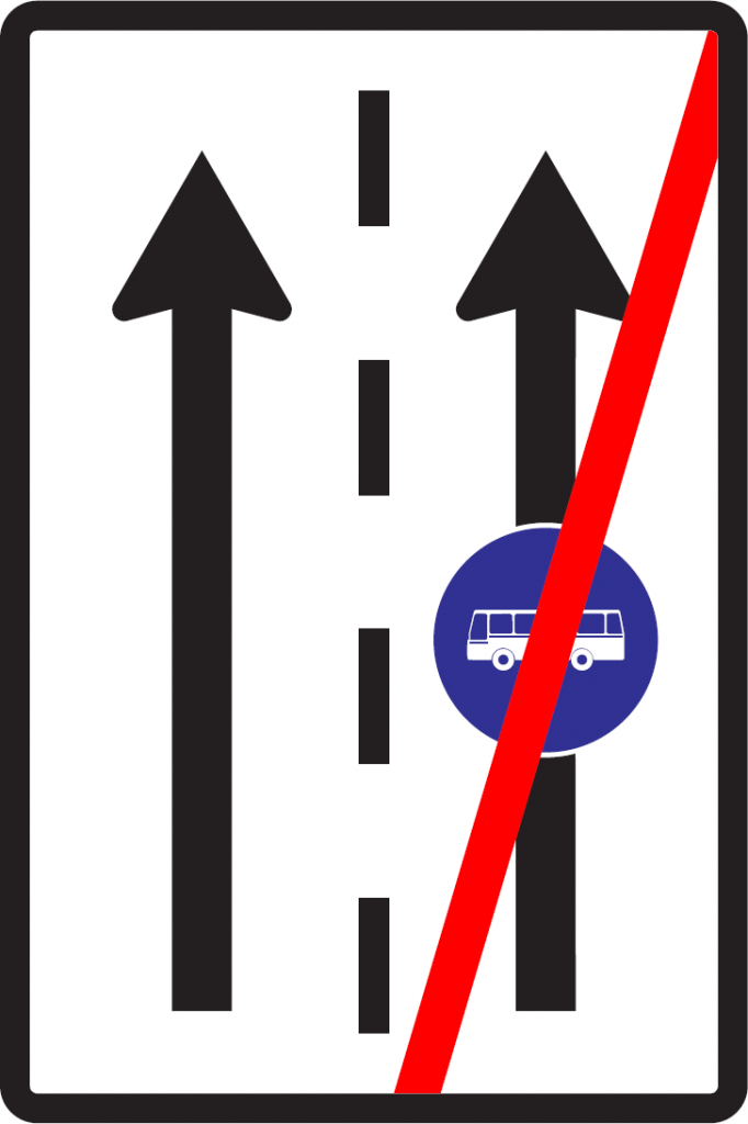 Koniec vyhradeného jazdného pruhu (vzor)