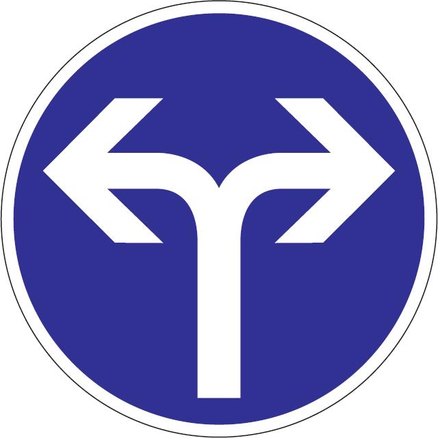 Prikázaný smer jazdy vpravo a vľavo