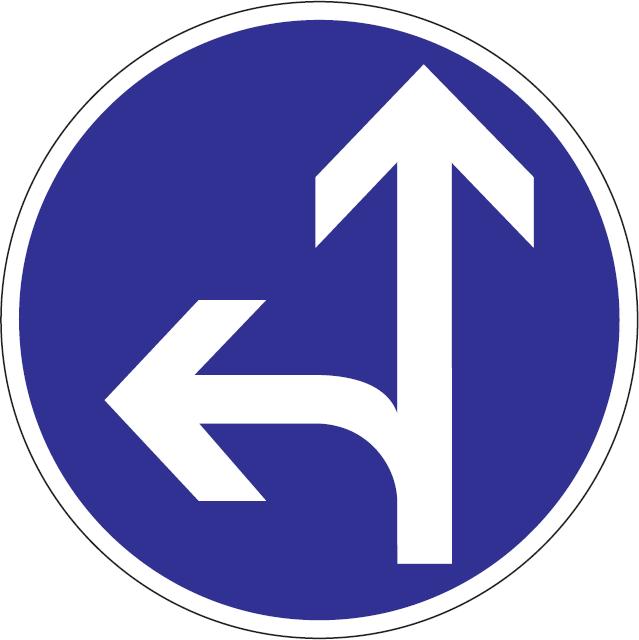 Prikázaný smer jazdy priamo a vľavo