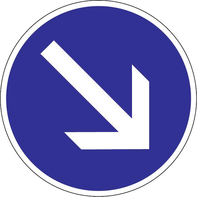 Prikázaný smer jazdy obchádzania vpravo