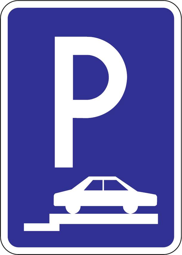 Parkovisko, parkovacie miesta s kolmým alebo šikmým státím na chodníku