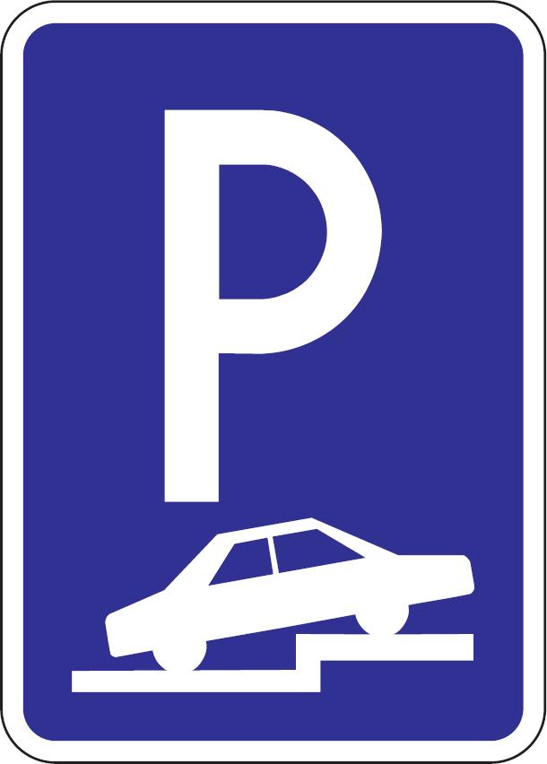 Parkovisko, parkovacie miesta s kolmým alebo šikmým čiastočným státím na chodníku