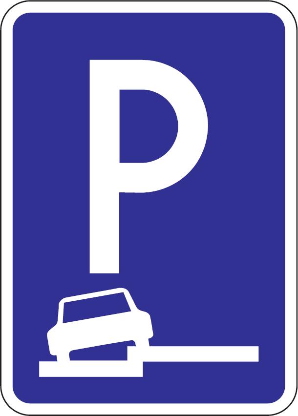 Parkovisko, parkovacie miesta s pozdĺžnym čiastočným státím na chodníku