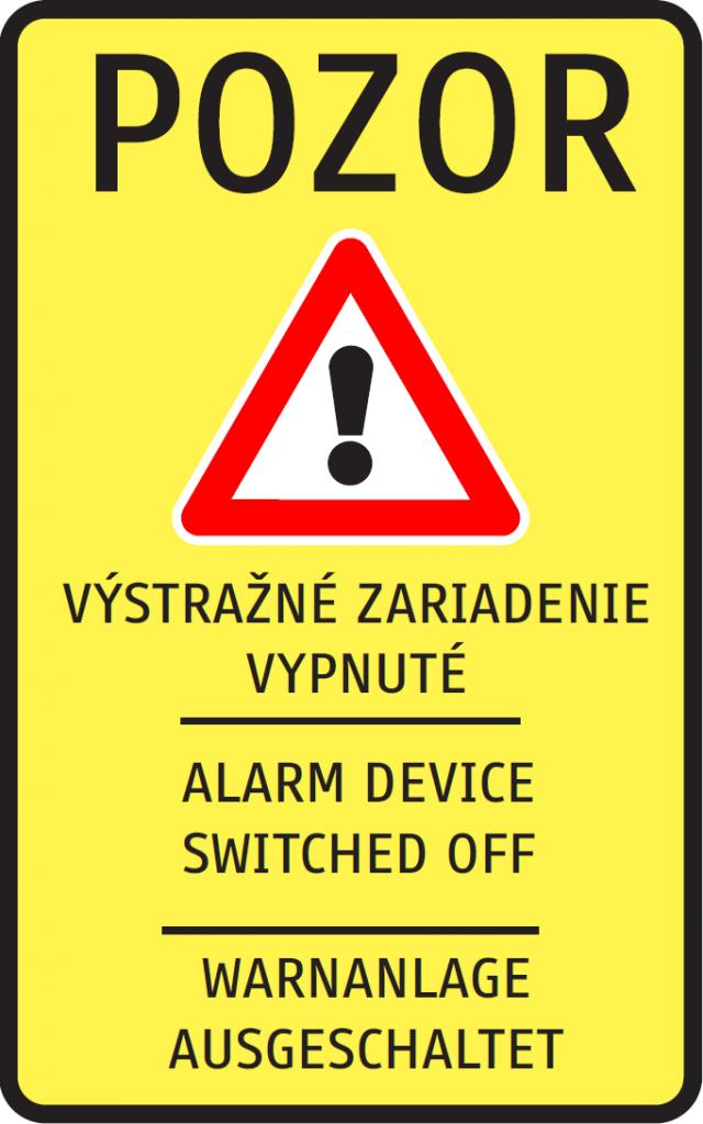 Výstražné zariadenie vypnuté